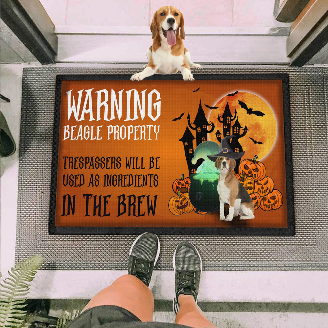 Warning Dogs Beagle Doormat