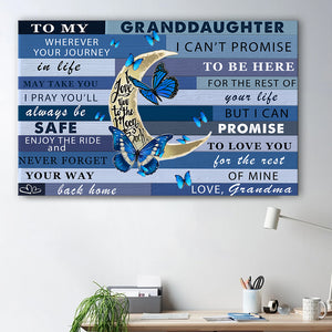 Family Moon Butterflies Granddaughter Canvas