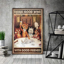 Load image into Gallery viewer, Vertical Printed Canvas - Good Wine With Good Friends