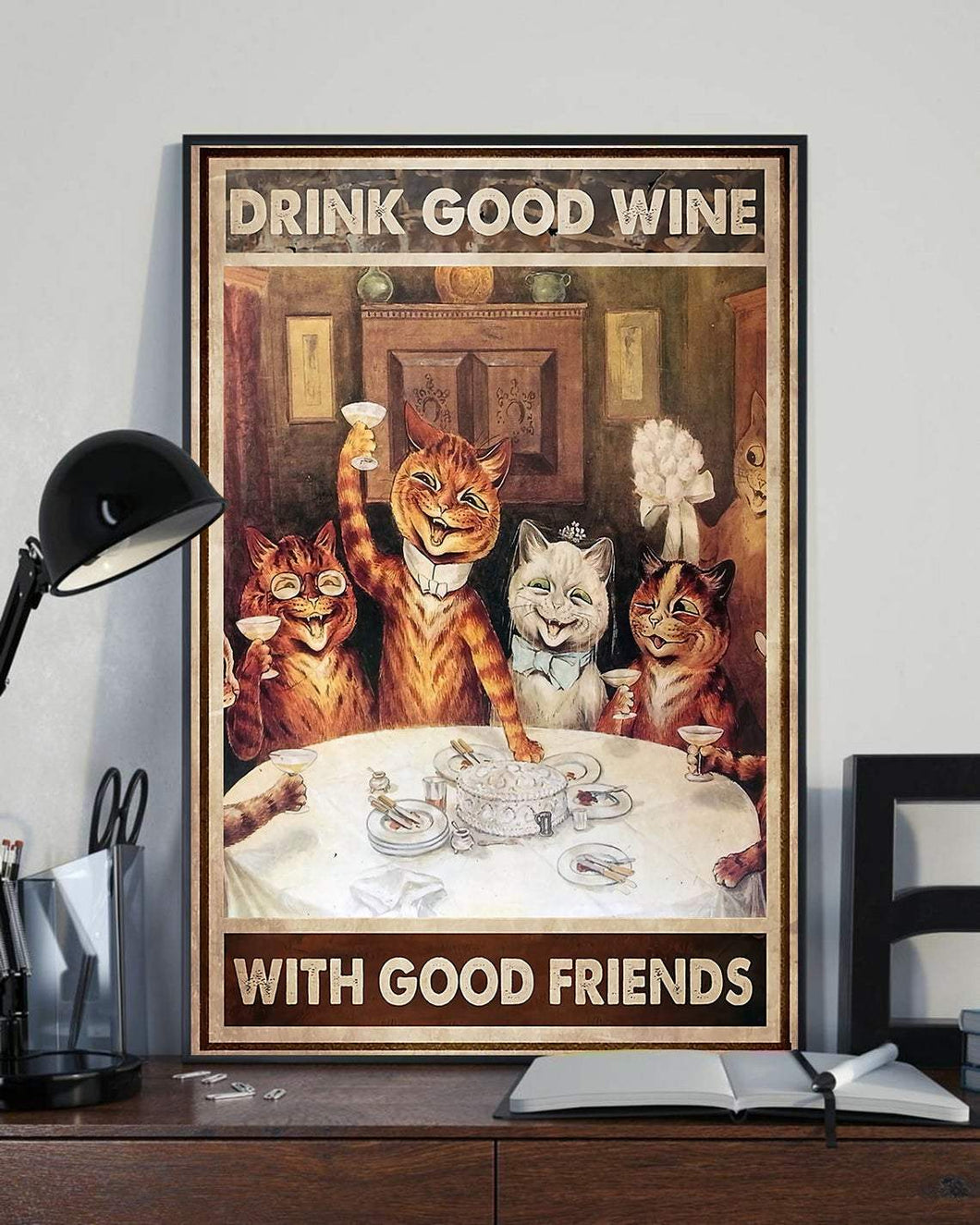 Vertical Printed Canvas - Good Wine With Good Friends
