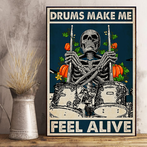 H-BB Vertical Printed Canvas - Drums Make Me Feel Alive