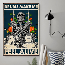 Load image into Gallery viewer, H-BB Vertical Printed Canvas - Drums Make Me Feel Alive