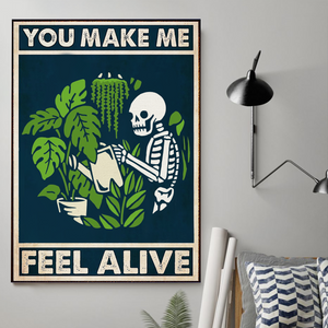 H-BB Vertical Printed Canvas - Skeleton Watering Plants