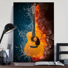 Load image into Gallery viewer, H-BB Vertical Printed Canvas - Classic Guitar Water Fire