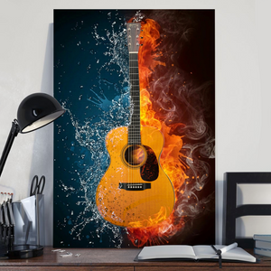 H-BB Vertical Printed Canvas - Classic Guitar Water Fire