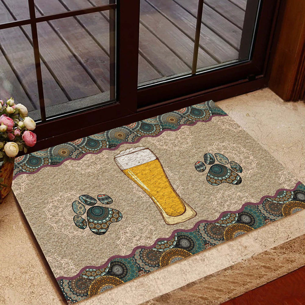 Beer And Paw Doormat