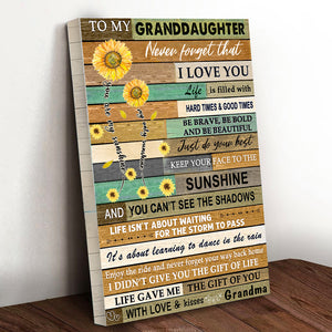Sunflower Family Granddaughter Canvas