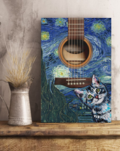 Load image into Gallery viewer, TR-DM Vertical Printed Canvas - Guitar Night Cat