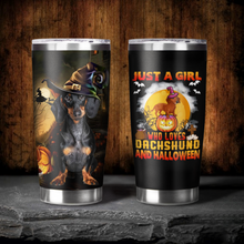 Load image into Gallery viewer, H-BB Design Vacuum Insulated Tumbler - A Girl Loves Dachshund And Halloween