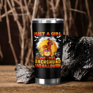 H-BB Design Vacuum Insulated Tumbler - A Girl Loves Dachshund And Halloween