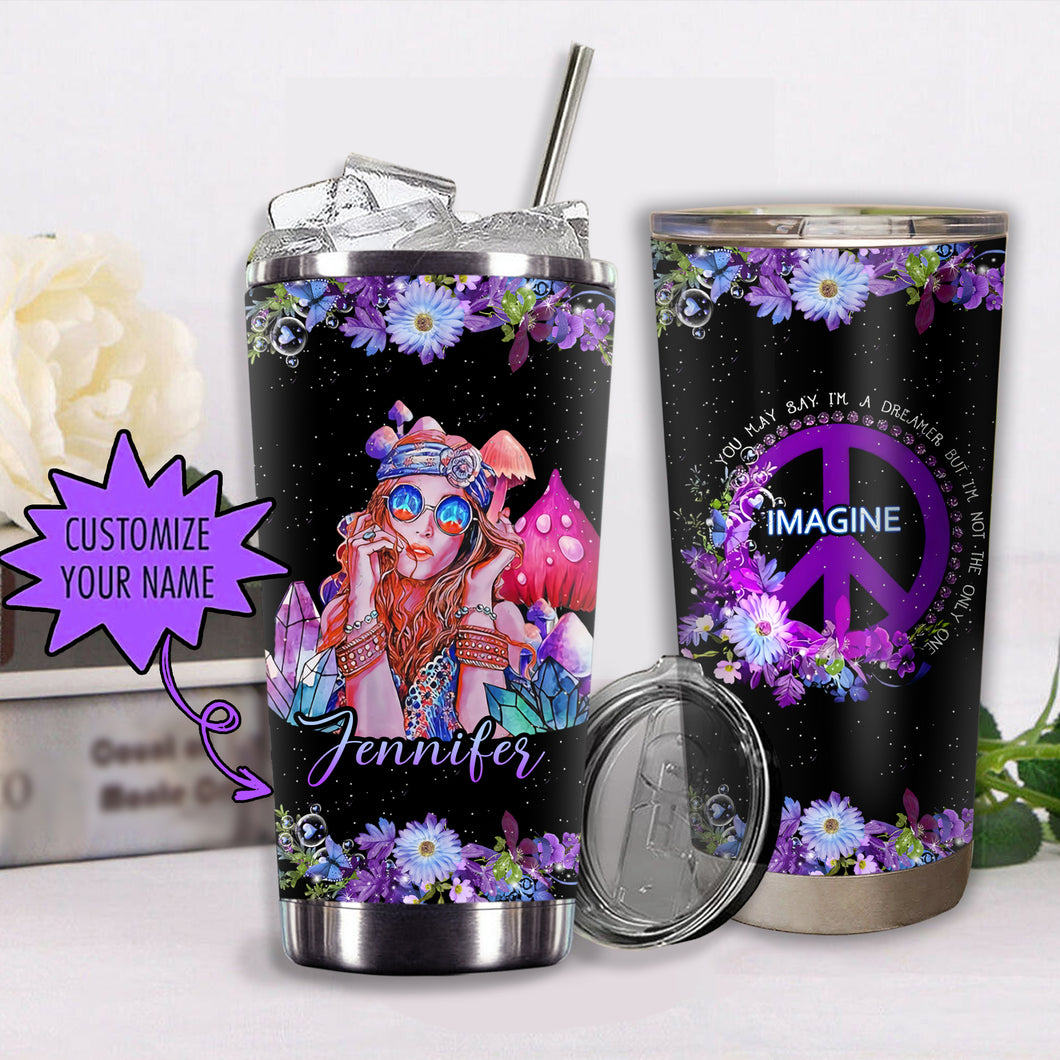 VA-NH Custom Name Design Vacuum Insulated Tumbler - Purple Dream Girl