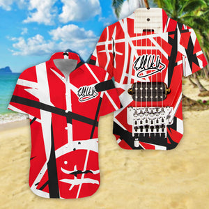VA-NH Standard Printed Allover 3D Shirt - Red Pattern Guitar