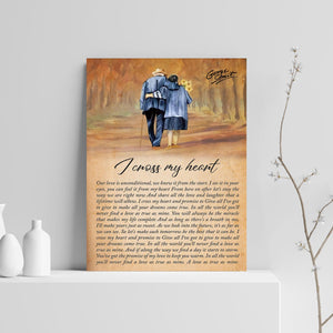 VA-NH Vertical Printed Canvas - Couple Walking