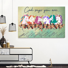 Load image into Gallery viewer, VH-BB Horizontal Printed Canvas -God Says Unicorn