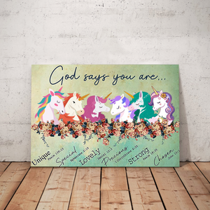 VH-BB Horizontal Printed Canvas -God Says Unicorn