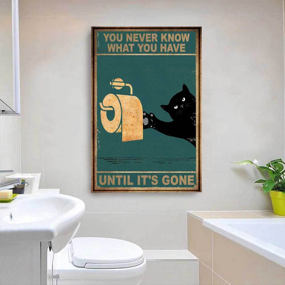 Wall Decor Canvas - Black Cat And Toilet Paper