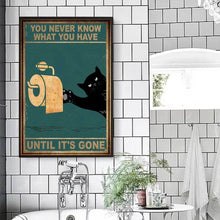 Load image into Gallery viewer, Wall Decor Canvas - Black Cat And Toilet Paper