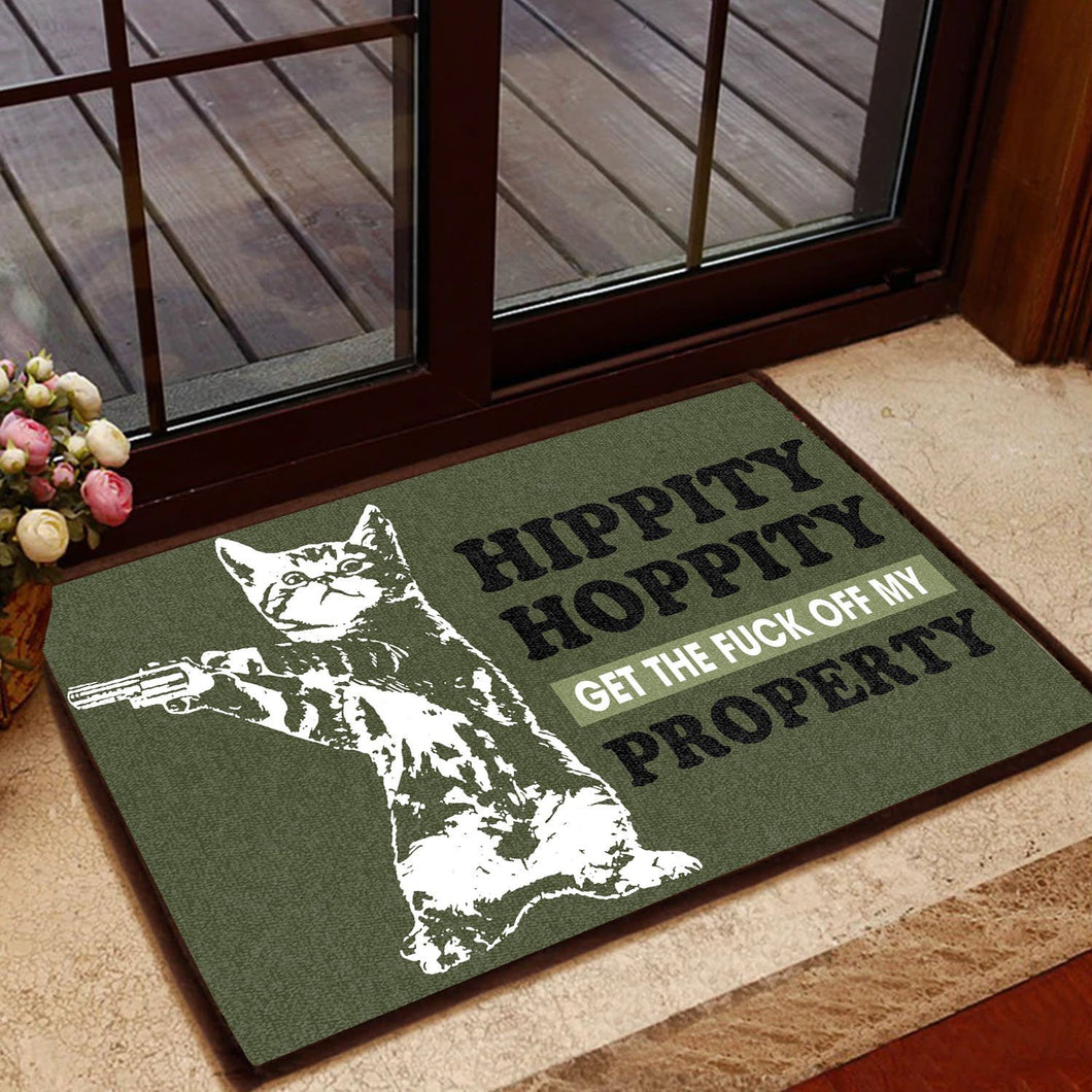 Cat Lovers Hippity Hoppity Get Off Our Property Doormat