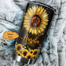 Load image into Gallery viewer, TT-HA Design Vacuum Insulated Tumbler - Hippie Girl Sunflower