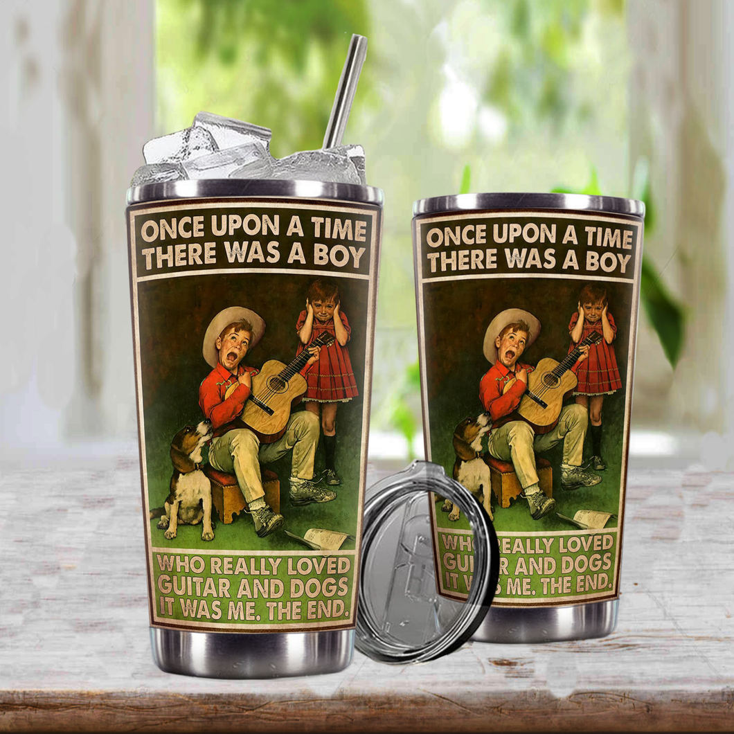 TR-TN Design Vacuum Insulated Tumbler - A Boy Really Loved Guitar And Dogs