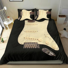 Load image into Gallery viewer, Black Electric Guitar Bedding Set
