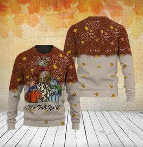 TT-HA Standard Printed Allover Hoodie And Sweater - It's Fall Ya'll