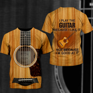 TR-DM Standard Printed Combo Allover 3D Tops - Guitar Brown Color
