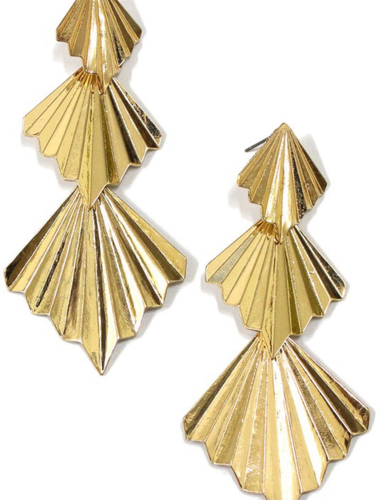tiered gold earrings