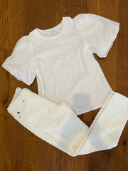 white puff sleeve slub tee