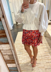 vibrant satin look floral skirt
