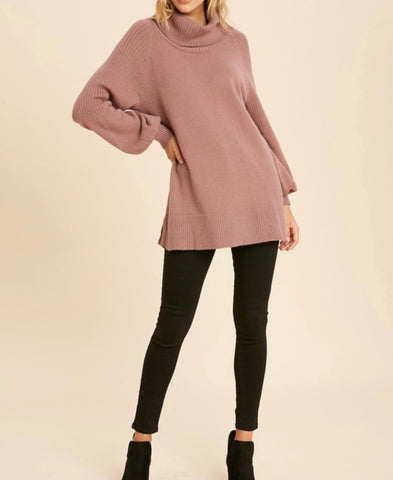 dusty mauve tunic sweater