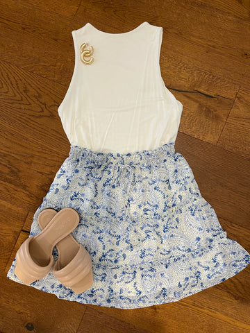 white/blue paisley tiered skirt