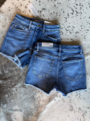 hi rise frayed denim shorts
