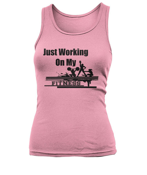 Woman's Working On My Fitness Tank Top #2552400 - Heart Fit