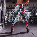 Casual Camouflage printed  Leggings Women's  High Waist Work Out Sportswear Elastic Leggings - Heart Fit