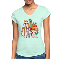 Dog Family Women's Tri-Blend V-Neck T-Shirt #5420029 - Heart Fit