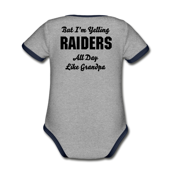 Raider Cheese Head Organic Contrast Short Sleeve Baby Bodysuit - Heart Fit