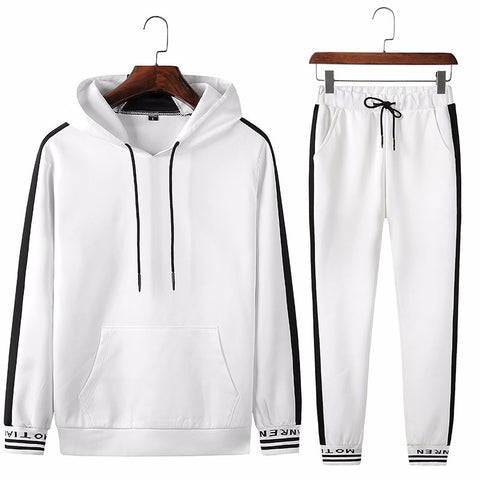 Boys Fitness Tracksuit  Hoodies Black And White
