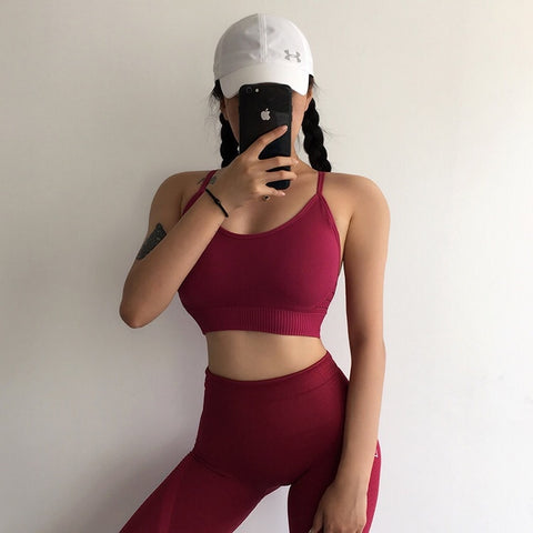 Gym 2 Piece Set Workout Clothes for Women Sports Bra