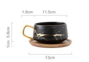 """Marble & Wood""  Matte ceramic marble tea/coffee cup with wood saucer in 4 variants"