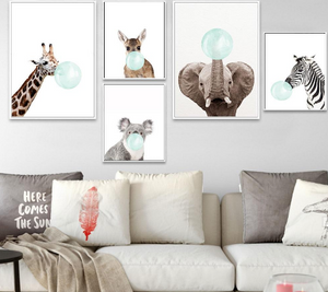 """Blue Bubble"" Animal wall art"