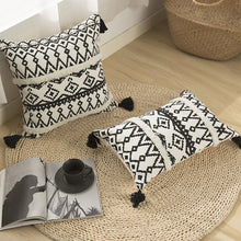 "Load image into Gallery viewer, ""Boho Black White cushion"" Woven cushion cover"