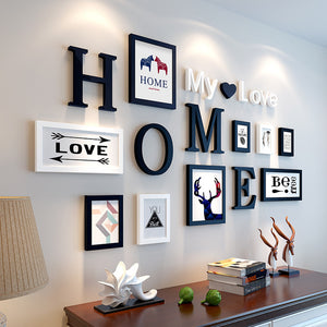 """Lovely Home"" Wooden photo frame wall decoration set ( Home and Round)"