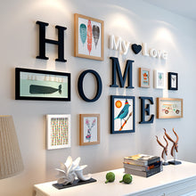"Load image into Gallery viewer, ""Lovely Home"" Wooden photo frame wall decoration set ( Home and Round)"