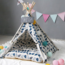 "Load image into Gallery viewer, ""Teepee Pet Leaves Blue"" Pet teepee"