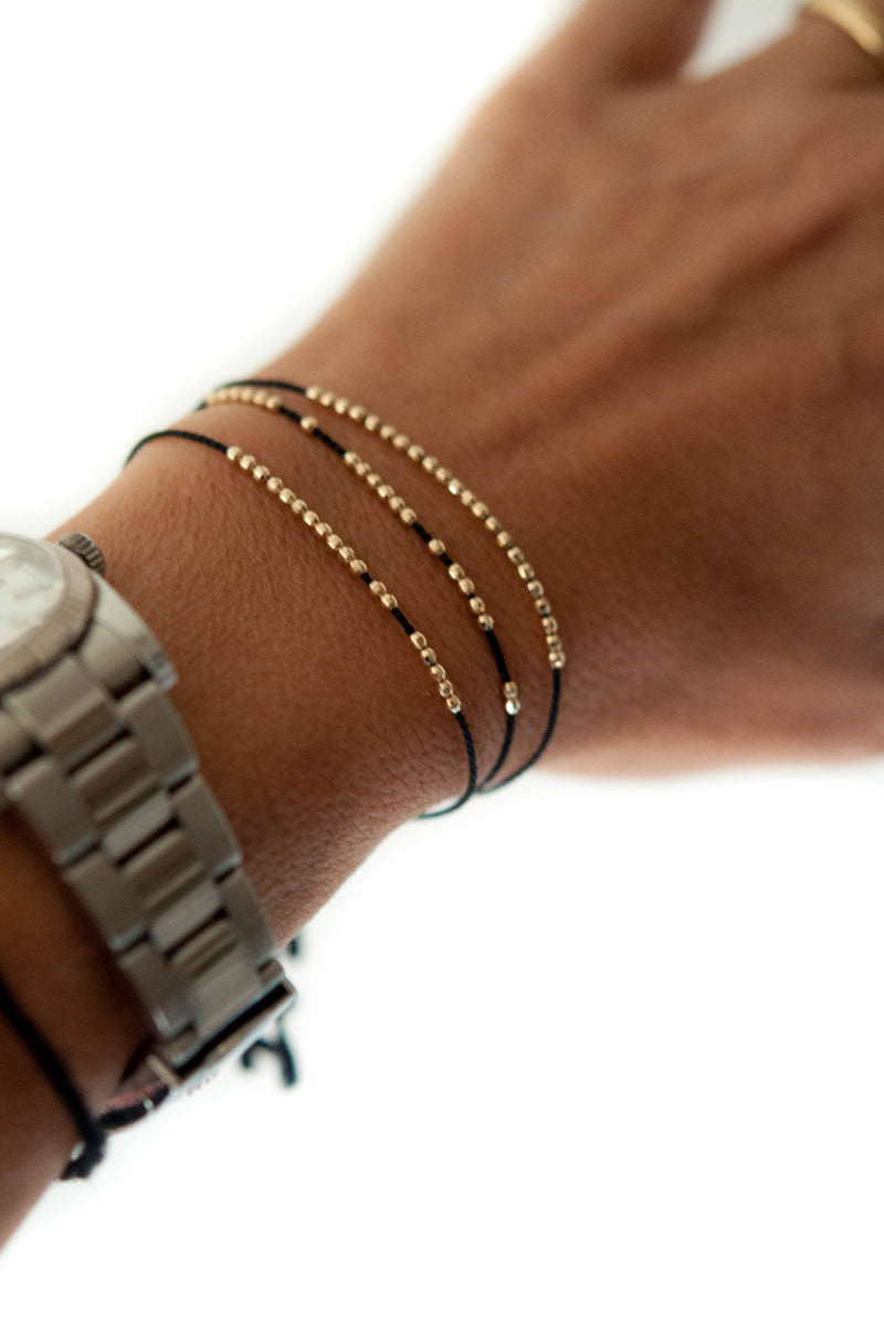 Disco friendship bracelet - 14k solid gold - Vivien Frank Designs