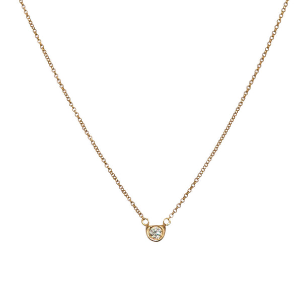 Diamond Solitaire Necklace in 18k solid gold - Vivien Frank Designs