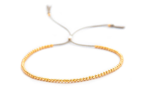 Delicate 14k solid Yellow Gold beaded bracelet