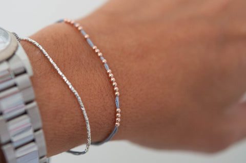 14k rose gold beaded friendship bracelet