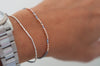 14k solid rose gold and gray silk friendship bracelet